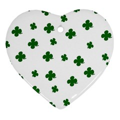 St. Patrick s clover pattern Heart Ornament (Two Sides)