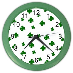St. Patrick s clover pattern Color Wall Clocks