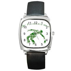 St. Patrick s day Square Metal Watch