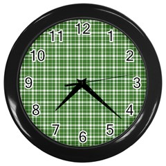 St. Patricks day plaid pattern Wall Clocks (Black)
