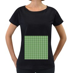 St. Patricks day plaid pattern Women s Loose-Fit T-Shirt (Black)
