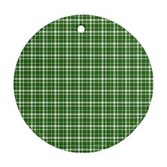 St  Patricks Day Plaid Pattern Round Ornament (two Sides)