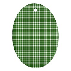 St. Patricks day plaid pattern Oval Ornament (Two Sides)