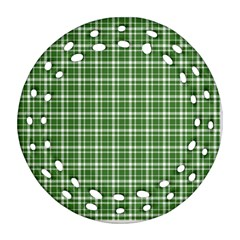St. Patricks day plaid pattern Round Filigree Ornament (Two Sides)