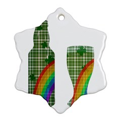 St. Patrick s day Snowflake Ornament (Two Sides)