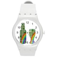 St. Patrick s day Round Plastic Sport Watch (M)