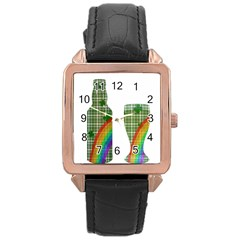 St. Patrick s day Rose Gold Leather Watch