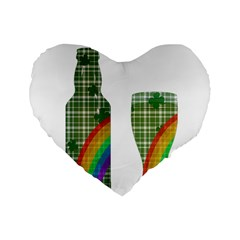 St. Patrick s day Standard 16  Premium Flano Heart Shape Cushions