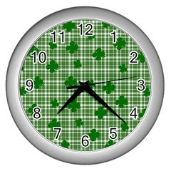 St. Patrick s day pattern Wall Clocks (Silver)