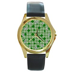 St. Patrick s day pattern Round Gold Metal Watch