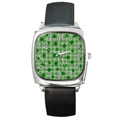St. Patrick s day pattern Square Metal Watch