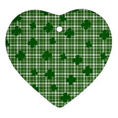 St. Patrick s day pattern Heart Ornament (Two Sides)