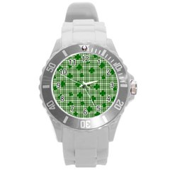 St. Patrick s day pattern Round Plastic Sport Watch (L)
