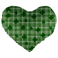 St. Patrick s day pattern Large 19  Premium Heart Shape Cushions