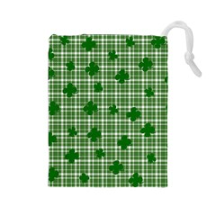 St. Patrick s day pattern Drawstring Pouches (Large)