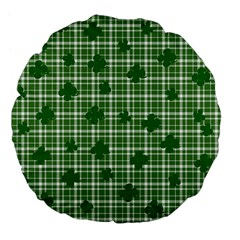 St. Patrick s day pattern Large 18  Premium Flano Round Cushions