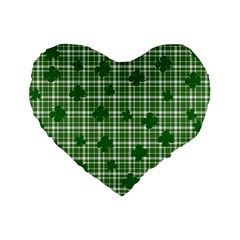 St. Patrick s day pattern Standard 16  Premium Flano Heart Shape Cushions