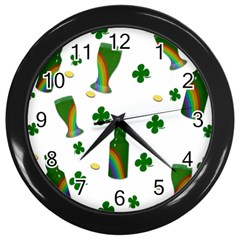 St. Patricks day  Wall Clocks (Black)