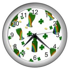 St. Patricks day  Wall Clocks (Silver)