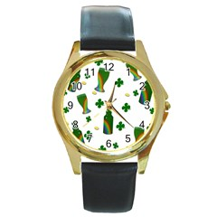 St. Patricks day  Round Gold Metal Watch