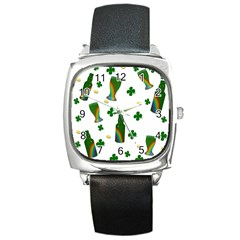 St. Patricks day  Square Metal Watch