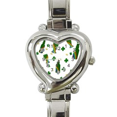 St. Patricks day  Heart Italian Charm Watch