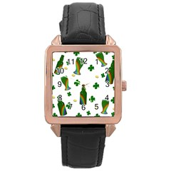 St. Patricks day  Rose Gold Leather Watch