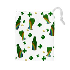 St. Patricks day  Drawstring Pouches (Large)