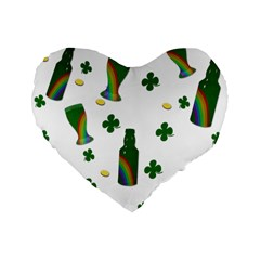St. Patricks day  Standard 16  Premium Flano Heart Shape Cushions