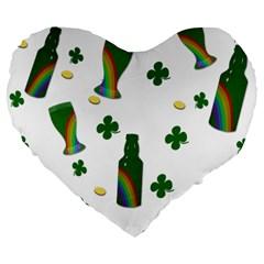 St. Patricks day  Large 19  Premium Flano Heart Shape Cushions