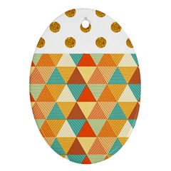 Golden dots and triangles pattern Ornament (Oval)