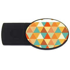 Golden Dots And Triangles Pattern Usb Flash Drive Oval (2 Gb)