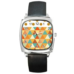 Golden dots and triangles pattern Square Metal Watch