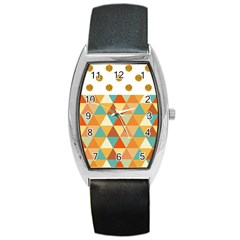 Golden dots and triangles pattern Barrel Style Metal Watch