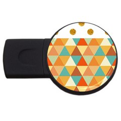 Golden dots and triangles pattern USB Flash Drive Round (4 GB)