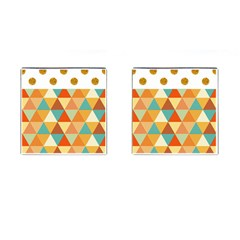 Golden dots and triangles pattern Cufflinks (Square)