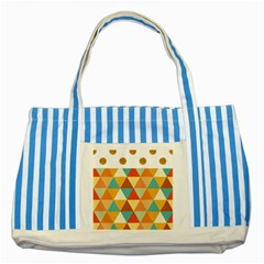 Golden dots and triangles pattern Striped Blue Tote Bag