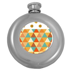 Golden dots and triangles pattern Round Hip Flask (5 oz)