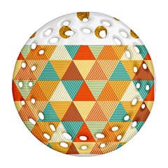 Golden dots and triangles pattern Round Filigree Ornament (Two Sides)