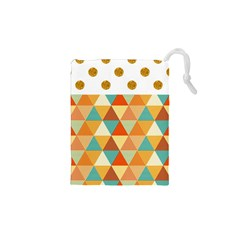 Golden dots and triangles pattern Drawstring Pouches (XS)