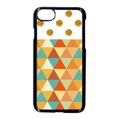 Golden Dots And Triangles Pattern Apple Iphone 7 Seamless Case (black)