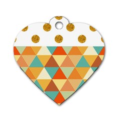 GOLDEN DOTS AND TRIANGLES PATERN Dog Tag Heart (One Side)
