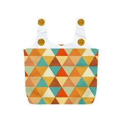 GOLDEN DOTS AND TRIANGLES PATERN Full Print Recycle Bags (S)