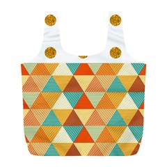 GOLDEN DOTS AND TRIANGLES PATERN Full Print Recycle Bags (L)