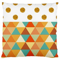 Golden Dots And Triangles Patern Standard Flano Cushion Case (two Sides)