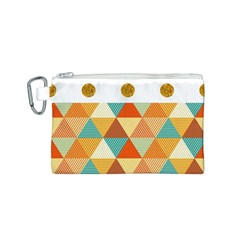 GOLDEN DOTS AND TRIANGLES PATERN Canvas Cosmetic Bag (S)