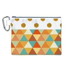 GOLDEN DOTS AND TRIANGLES PATERN Canvas Cosmetic Bag (L)