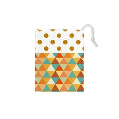 GOLDEN DOTS AND TRIANGLES PATERN Drawstring Pouches (XS)
