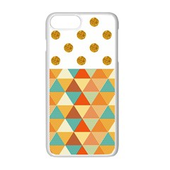 Golden Dots And Triangles Patern Apple Iphone 7 Plus White Seamless Case
