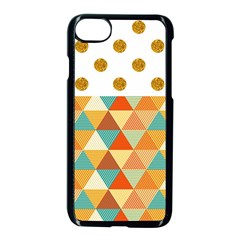 Golden Dots And Triangles Patern Apple Iphone 7 Seamless Case (black)